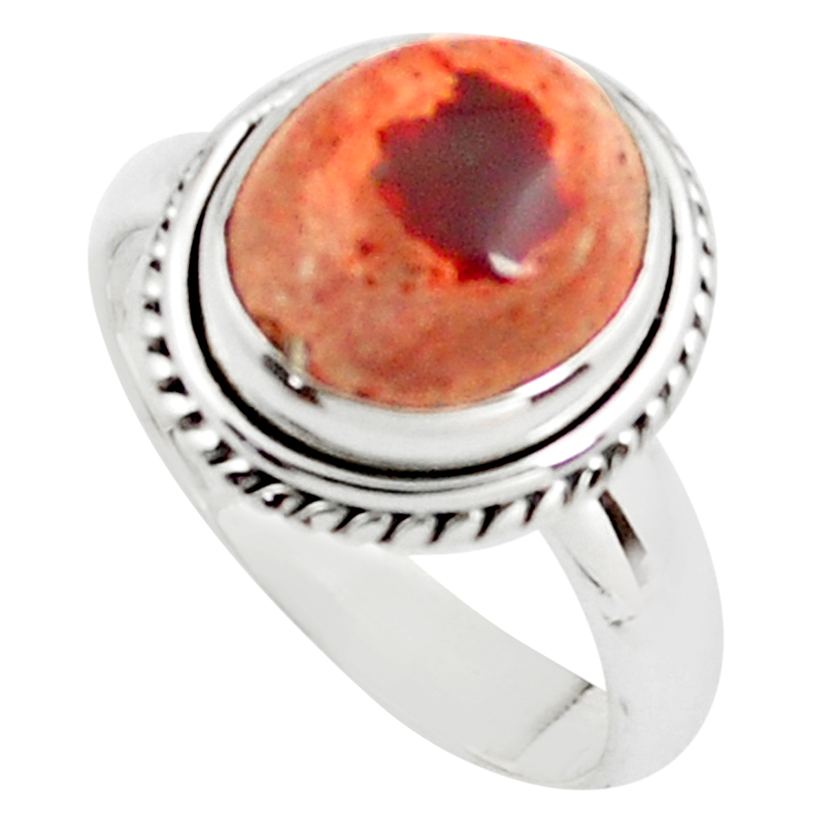 30.3 grams One of a Kind Sterling Silver and Mexican fire Opal handcrafted Ring