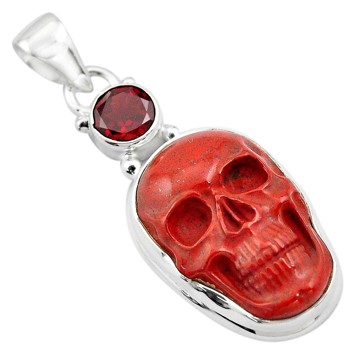925 Sterling Silver Red Jasper Cabochon Garnet Filigree Pendant